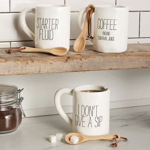 Mud Pie Coffee Sentiment Mug & Spoon Set