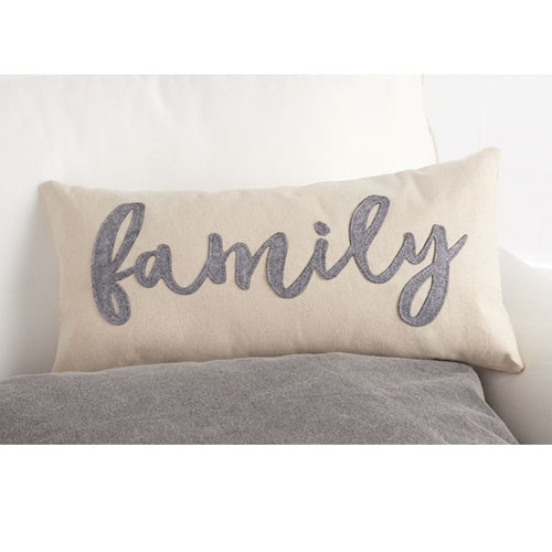 MUD PIE CANVAS & FELT FAMILY PILLOW