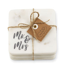 Load image into Gallery viewer, MUD PIE MR & MRS MARBLE COASTER SET