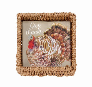 Mud Pie Turkey Paper Napkin in Basket