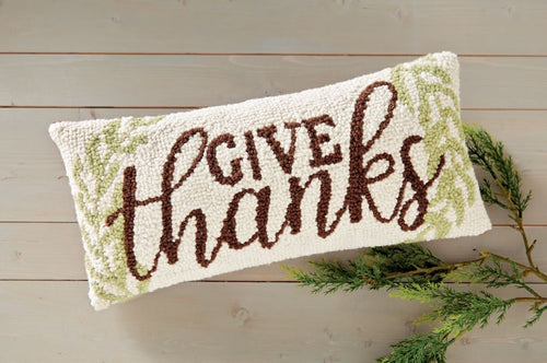 Mud Pie Give Thanks Hooked Wool Pillow
