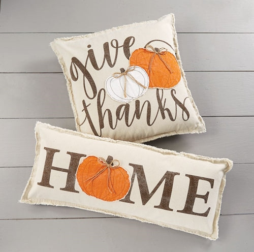 Mud Pie Applique Canvas Pumpkin Pillows