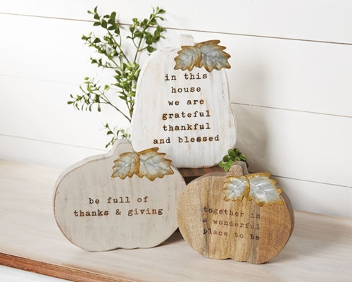 Mud Pie Chunky Wood Pumpkin Plaques