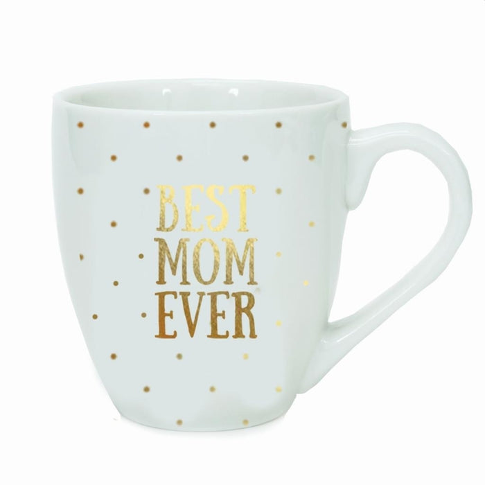 MARY SQUARE BEST MOM EVER GOLD DOTS CERAMIC MUG