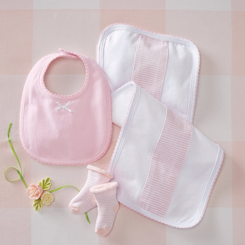 Mud Pie Pink Burp, Bib & Sock Set