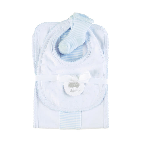 Mud Pie Blue Burp, Bib & Sock Set