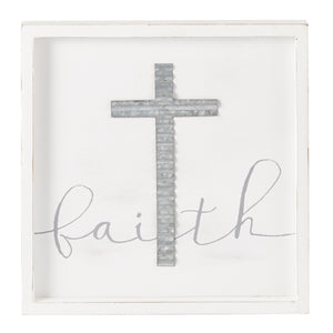 MUD PIE FAITH CROSS FRAMED WOOD PLAQUE