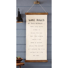 Load image into Gallery viewer, Mud Pie Lake Rules Hanging Canvas
