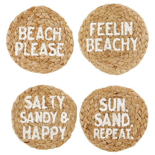 Mud Pie Beach Jute Coaster Set