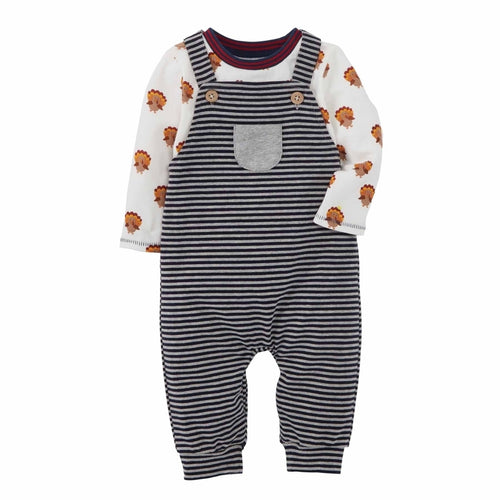 Mud Pie Thanksgiving Overall Shirt Set