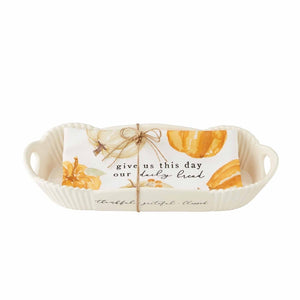 Mud Pie Pumpkin Bread Bowl & Towel Set