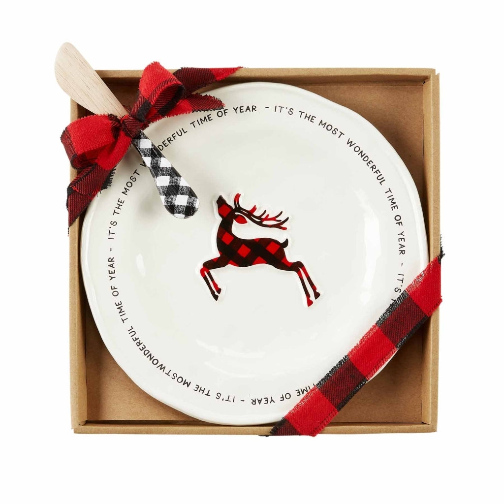 Mud Pie Buffalo Check Cheese Set