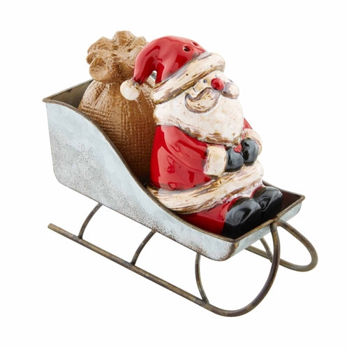 Mud Pie Santa Sleigh Salt & Pepper Set