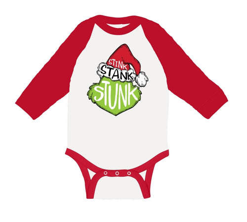Jane Marie Kids Stink Stank Stunk Red & White Long Sleeve Onsie