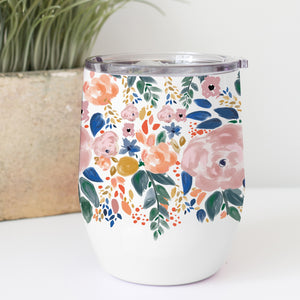 Mary Square Autumn Blossoms Stainless Drink Tumbler