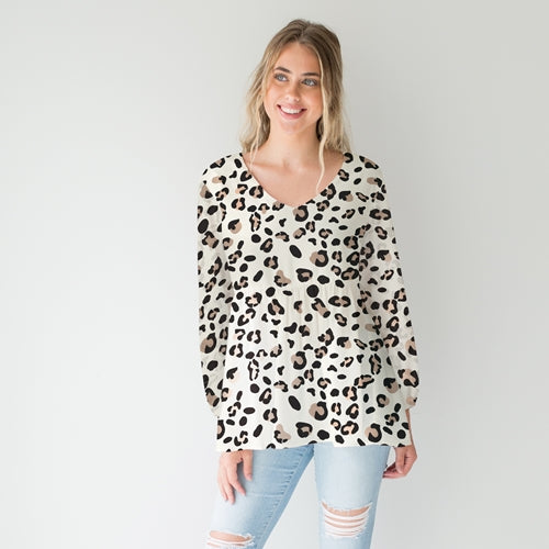 Mary Square Nicole Cream Leopard Long Sleeve Top