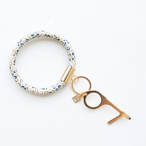 Mary Square Multi Leopard Clean Key Bracelet