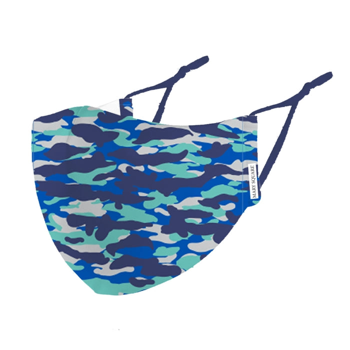 Mary Square Youth Blue Camo Face Mask
