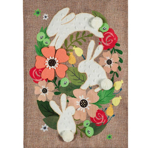 Evergreen Spring Bunnies Burlap Garden Flag