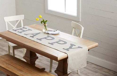 Mud Pie Happy Table Runner