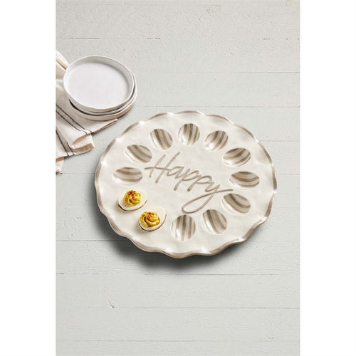 Mud Pie Happy Ruffle Egg Tray