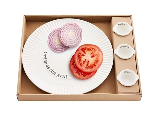 Mud Pie Grill Plate Condiment Boxed Set