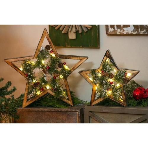 Evergreen LED Wooden Star Table Decor