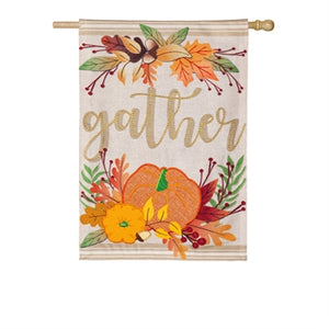 Evergreen Autumn Gather Burlap House Flag