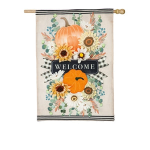 Evergreen Autumn Floral Sway Burlap House Flag