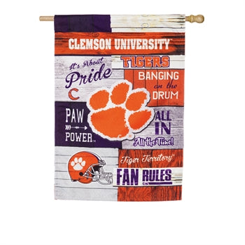 EVERGREEN CLEMSON FAN RULES LINEN HOUSE FLAG
