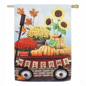Evergreen Autumn Red Wagon House Flag