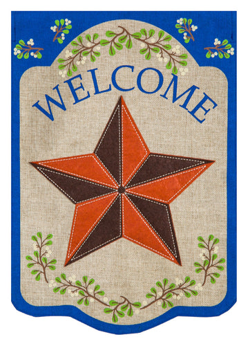 Evergreen Country Star Burlap House Flag