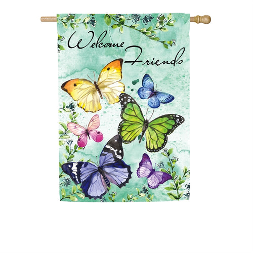 EVERGREEN SP20 BUTTERFLY FRIENDS TEXTURED SUEDE HOUSE FLAG