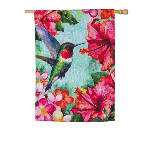 EVERGREEN SP20 Hummingbird and Hibiscus House Textured Suede Flag