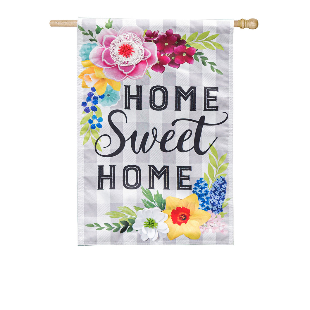 Evergreen Home Sweet Home Plaid Floral Linen House Flag