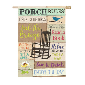 EVERGREEN PORCH RULES HOUSE FLAG