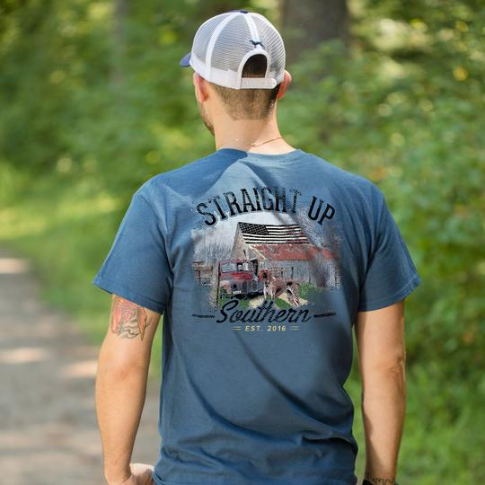 Straight Up Southern Patriotic Barn T-shirt