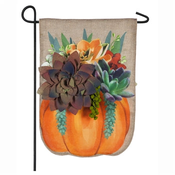 Evergreen Fall Succulents Burlap Garden Flag