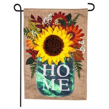 Evergreen Fall Home Mason Jar Burlap Garden Flag
