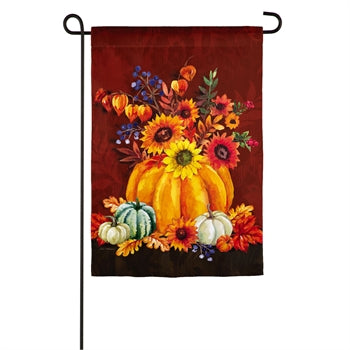 Evergreen Harvest Floral Pumpkin Bouquet Textured Suede Garden Flag