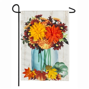 Evergreen Fall Mums Floral Mason Jar Linen Garden Flag