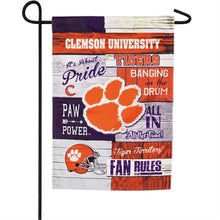 Load image into Gallery viewer, EVERGREEN CLEMSON FAN RULES LINEN GARDEN FLAG