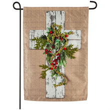 Load image into Gallery viewer, Evergreen Woodgrain Cross Linen Garden Flag