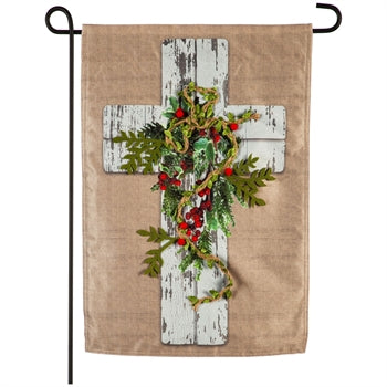 Evergreen Woodgrain Cross Linen Garden Flag