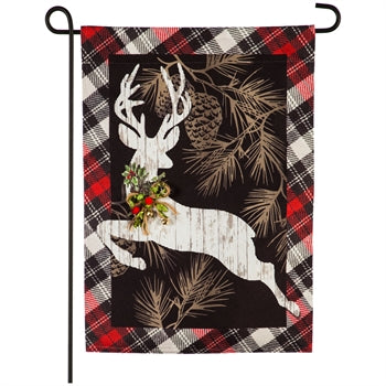 Evergreen Woodgrain Reindeer Linen Garden Flag