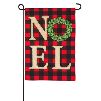 Evergreen Noel Wreath Linen Garden Flag