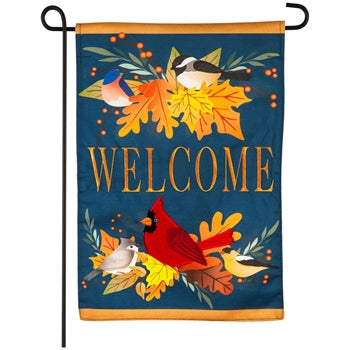 Evergreen Autumn Songbirds Linen Garden Flag