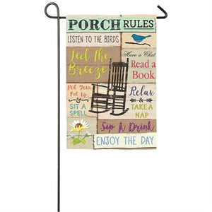 EVERGREEN PORCH RULES SUEDE GARDEN FLAG