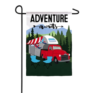 Evergreen Adventure Awaits Garden Flag
