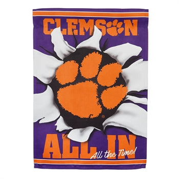EVERGREEN ALL IN CLEMSON SUEDE GARDEN FLAG